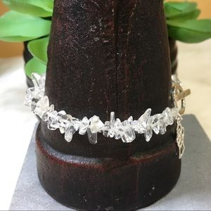 Jewelry - Stretchy Quartz Sterling Angel Charm Joy Bracelet